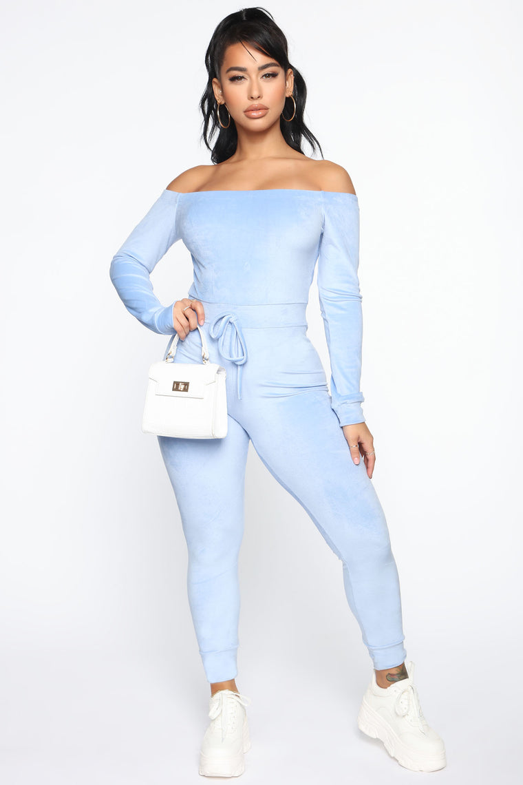 Need A Hug Velour Jumpsuit Blue Jumpsuits Fashion Nova