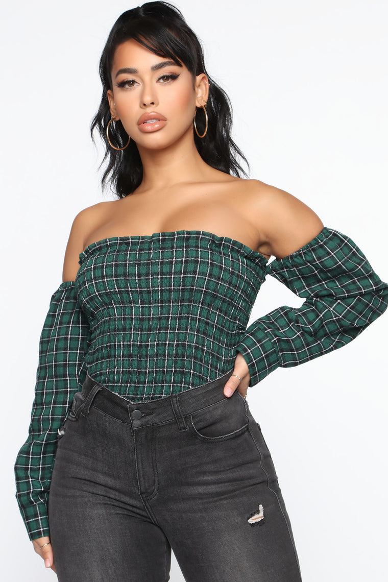 Come Onto You Plaid Top - Green/combo