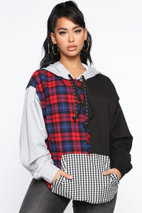 I Warned Myself Plaid Hoodie - Red/Green Angle 1