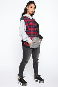 I Warned Myself Plaid Hoodie - Red/Green Angle 4