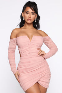 Sweet Oasis Ruched Cut Out Mini Dress - Dusty Pink Angle 1