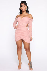 Sweet Oasis Ruched Cut Out Mini Dress - Dusty Pink Angle 2