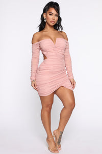 Sweet Oasis Ruched Cut Out Mini Dress - Dusty Pink Angle 3