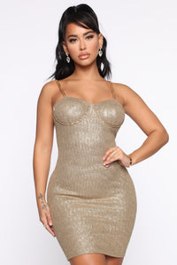 A Classy One Metallic Mini Dress - Olive Angle 2