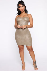 A Classy One Metallic Mini Dress - Olive Angle 1