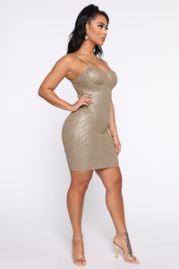 A Classy One Metallic Mini Dress - Olive Angle 3