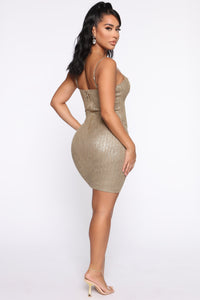 A Classy One Metallic Mini Dress - Olive Angle 4