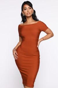 Business Handled Bandage Midi Dress - Rust