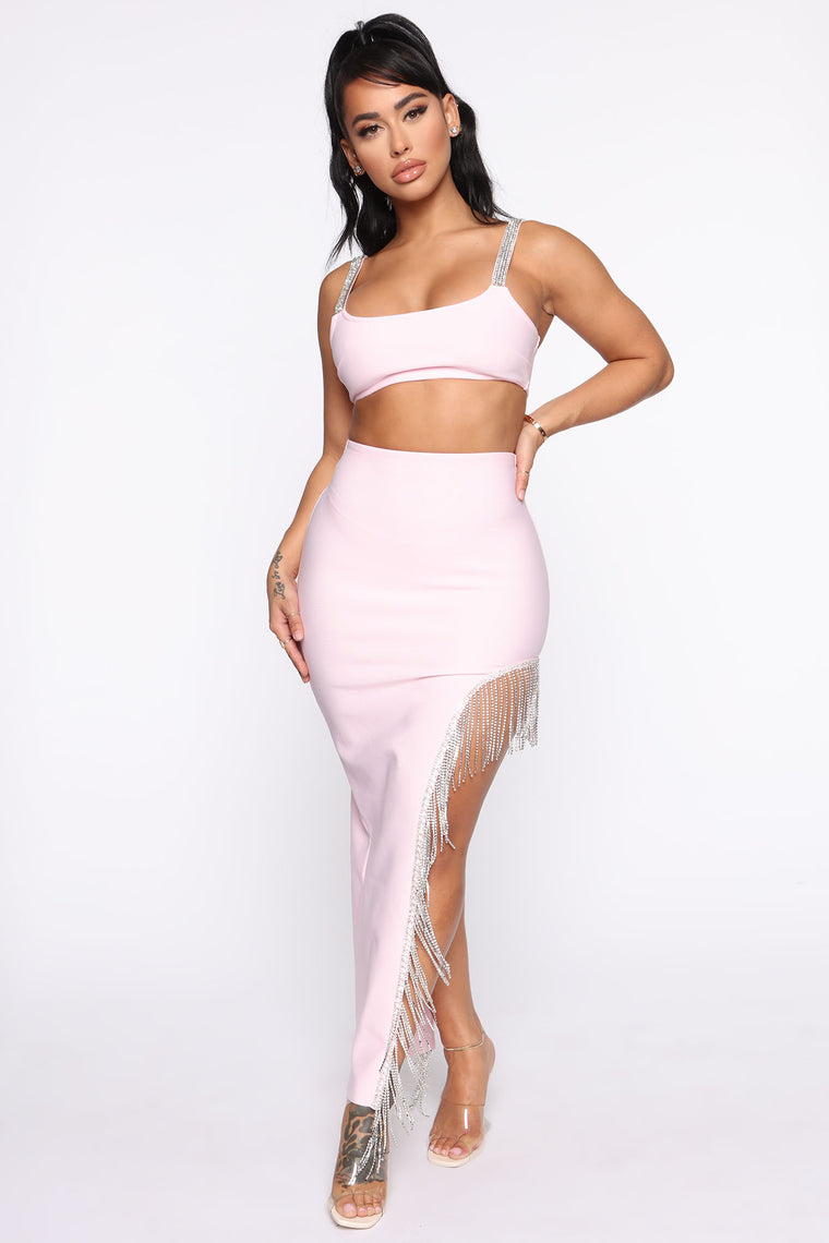 Bling Babe Bandage Set   Light Pink by Fashion Nova