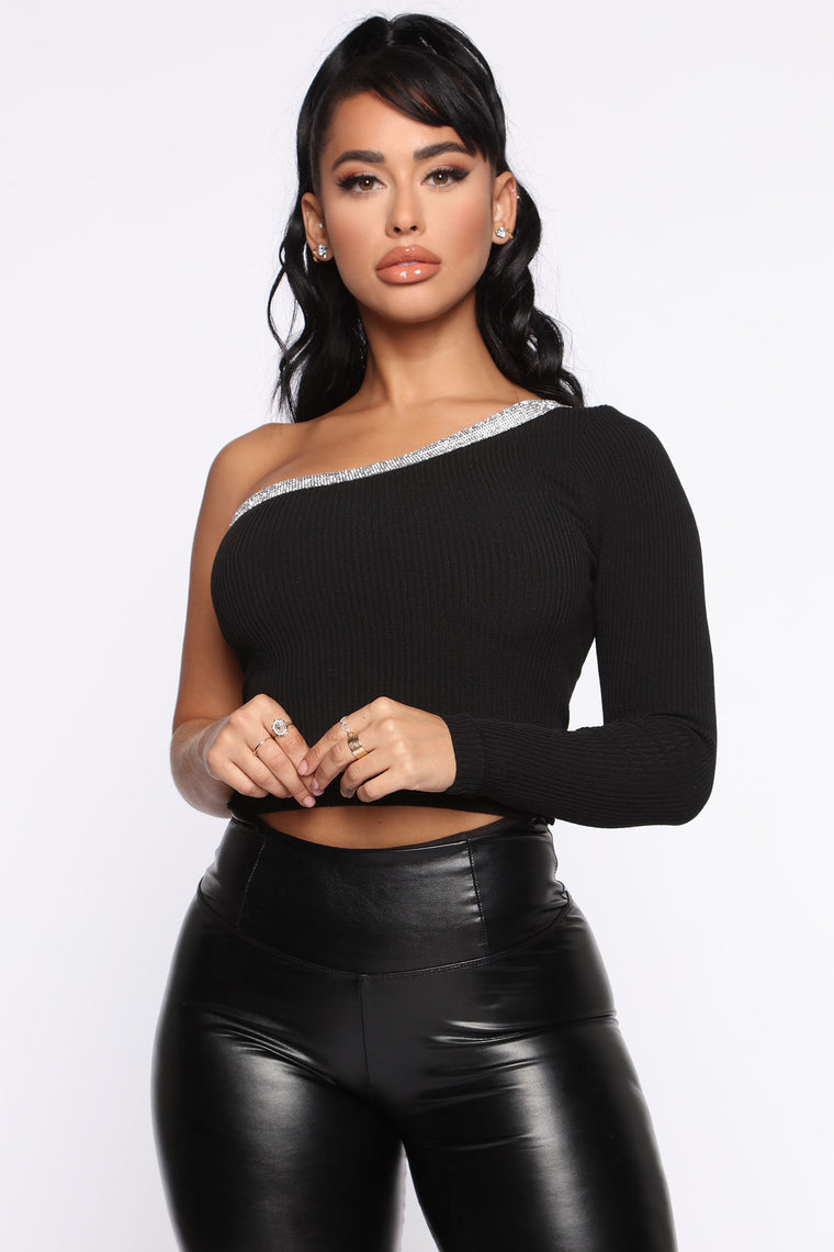 get-your-own-one-shoulder-sweater---black by fashion-nova