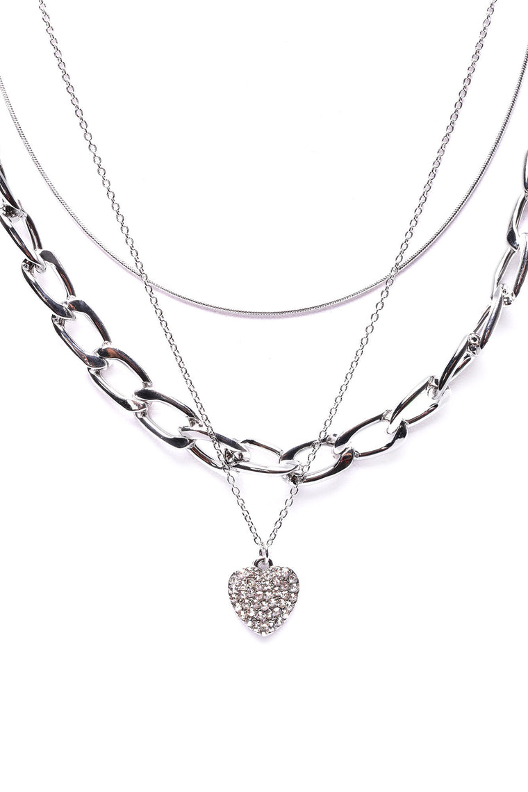 On Edge Layered Necklace - Silver