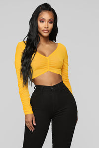 Meshy Situation Top - Mustard