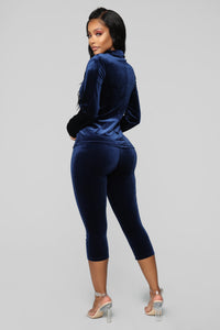Brush Your Shoulders Off Velvet Capri Set - Navy