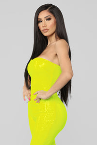 Birthday Bash Sequin Romper - Neon Yellow
