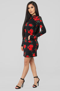 Renae Floral Mini Dress - Black Floral
