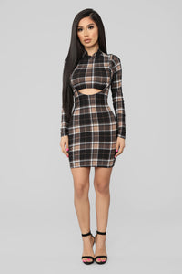 Major Plaid Dress - Black/Taupe Angle 1