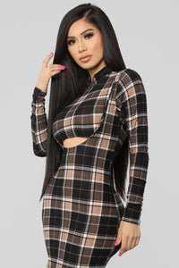 Major Plaid Dress - Black/Taupe Angle 2