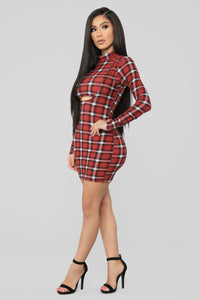 Major Plaid Dress - Rust