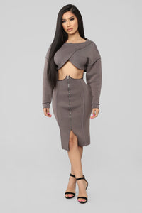 Undertones Skirt Set - Brown Angle 1