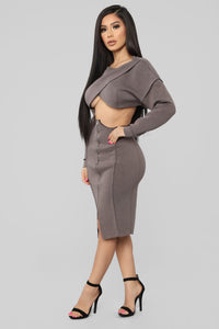 Undertones Skirt Set - Brown Angle 3