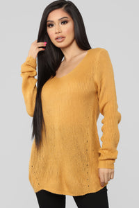 Cuddle By The Fire Sweater - Mustard