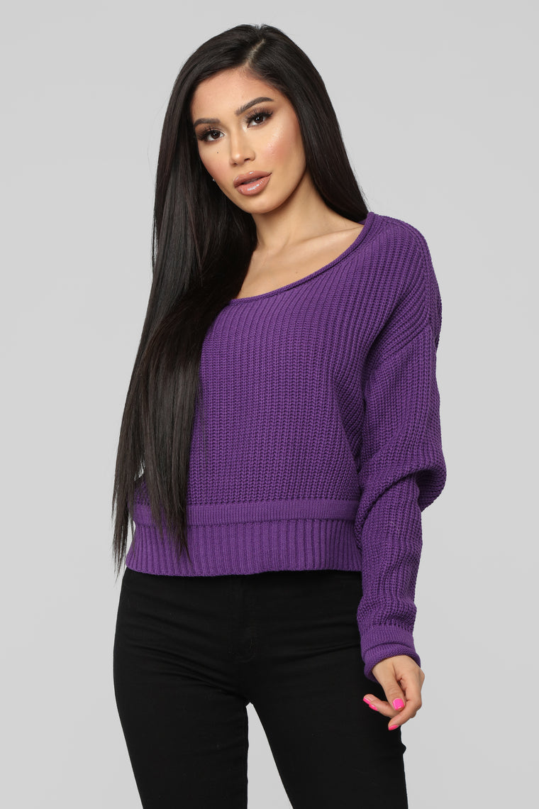Eve Cropped Sweater - Purple