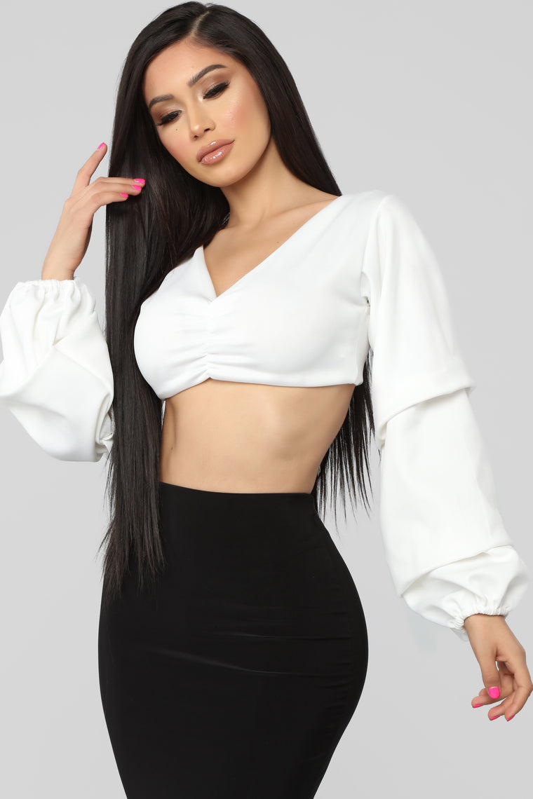 Hold The Drama Crop Top - Ivory