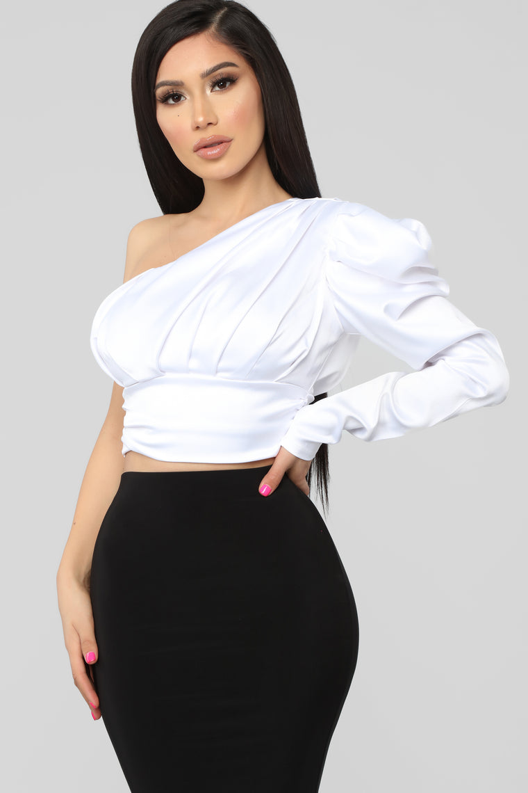 Sweet Romance One Shoulder Top - White