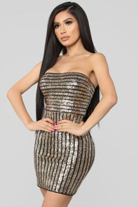 Ready To Shine Sequin Dress - Black/Gold