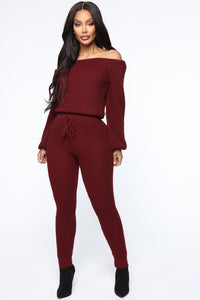 Running From You Sweater Set - Burgundy Angle 1