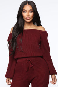 Running From You Sweater Set - Burgundy Angle 2