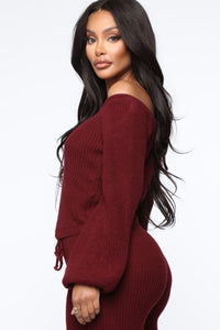 Running From You Sweater Set - Burgundy Angle 3