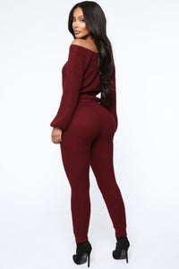 Running From You Sweater Set - Burgundy Angle 5