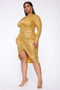 Outshine Them All Sequin Midi Dress - Mustard