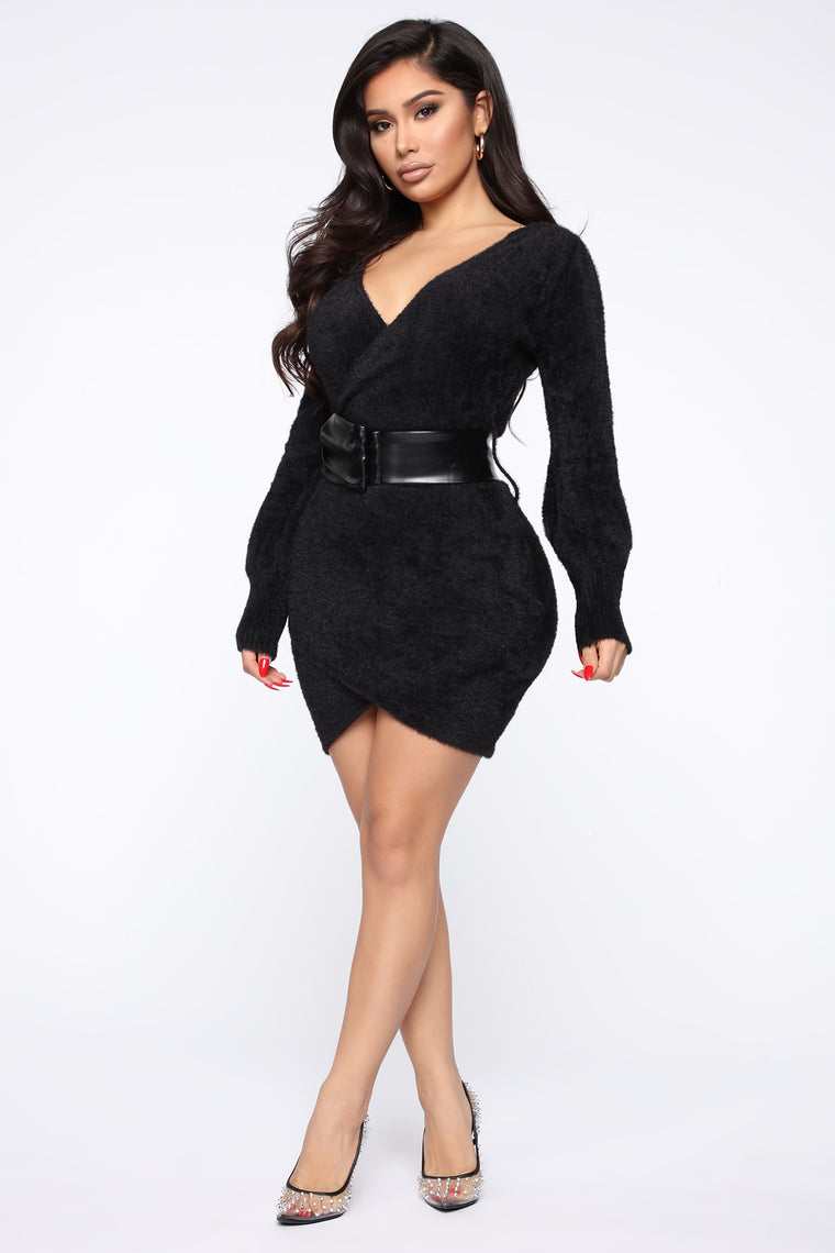 Warming Up To You Sweater Mini Dress - Black
