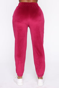 Soft And Cozy Velour Lounge Set - Magenta