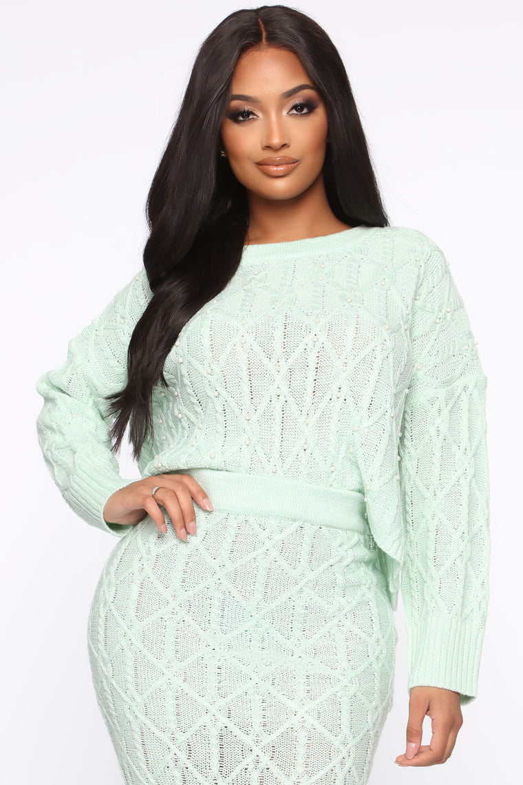 Had Knit Coming Sweater Set - Mint