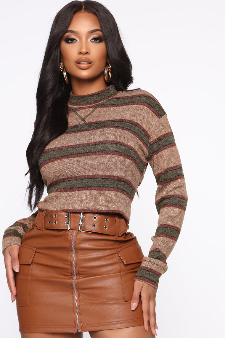 Serious Chills Stripe Top   Olive by Fashion Nova