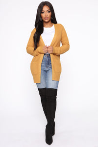 Zoe Two Pocket Cardigan - Mustard Angle 3