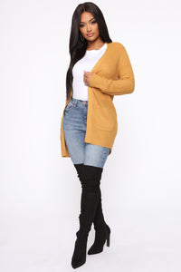Zoe Two Pocket Cardigan - Mustard Angle 1