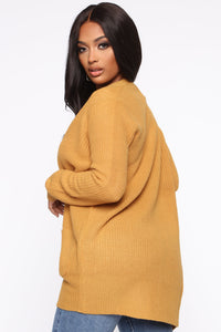 Zoe Two Pocket Cardigan - Mustard Angle 4
