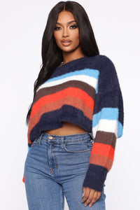 Snuggle Me Fuzzy Sweater - Navy/Combo