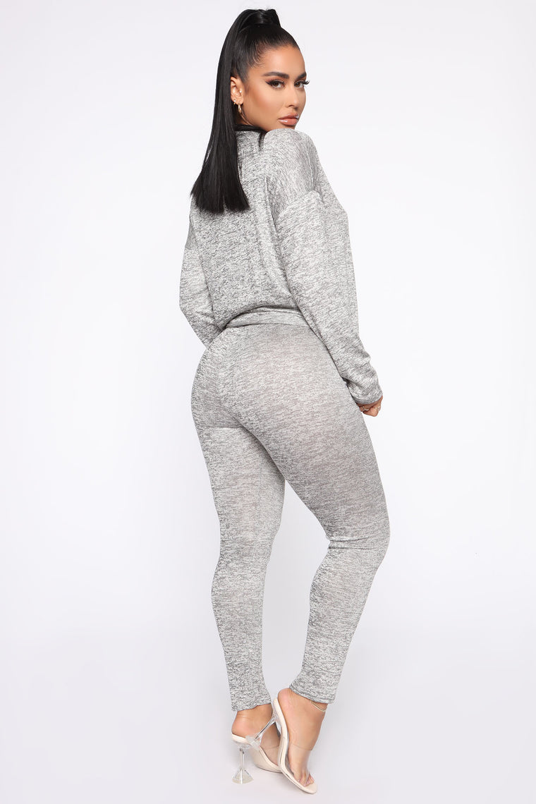 Wish You Had This Pant Set - Heather Grey