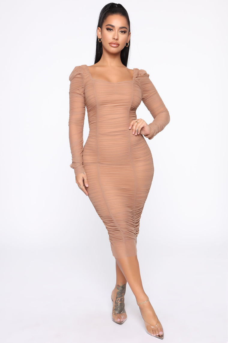 Did You Mesh Me Ruched Midi Dress   Nude by Fashion Nova