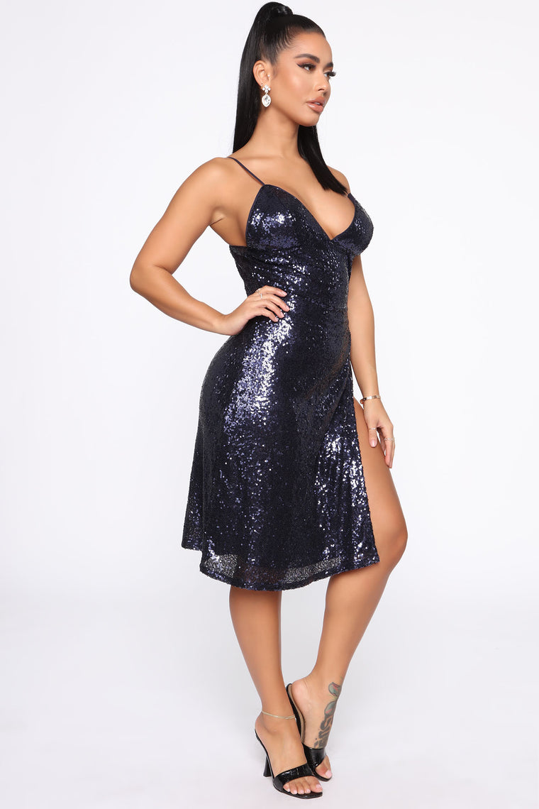 Doheny Drive Sequin Midi Dress - Navy