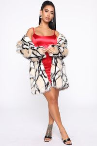 Don't Bother Me Faux Fur Coat - Multi Color Angle 2