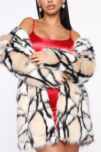 Don't Bother Me Faux Fur Coat - Multi Color Angle 1