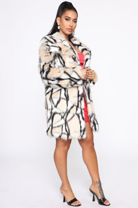 Don't Bother Me Faux Fur Coat - Multi Color Angle 3