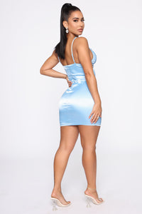 Secret Affair Satin Mini Dress - Blue Angle 4