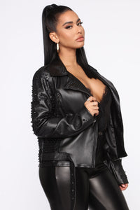 No Bad Vibes Moto Jacket - Black
